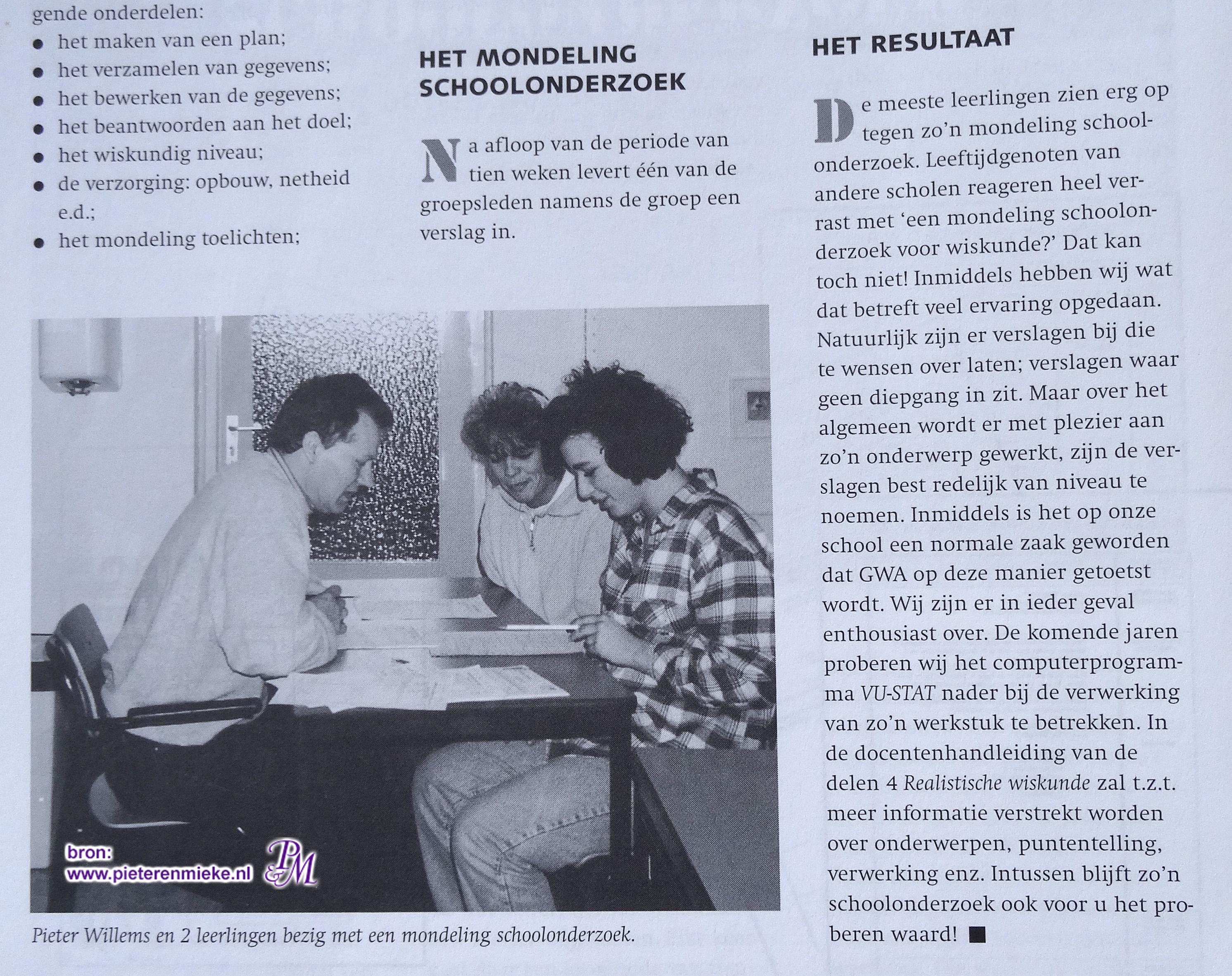 Afname van een mondeling schoolonderzoek wiskunde in 1996 in het kader van het project W 12-16 onder regie van het APS.