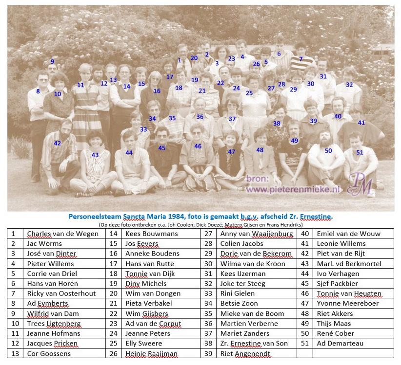 Het team van 'Sancta Maria' in 1984